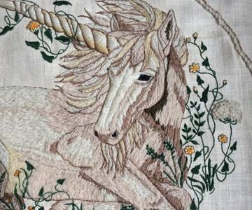 unicorn crewel embroidery